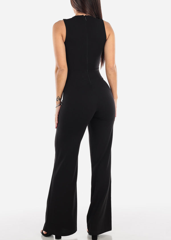 Crochet Detail Sleeveless Black Jumpsuit