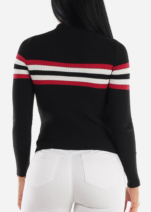 Turtle Neck Ribbed Black Sweater
