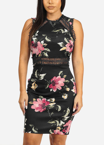 Image of Floral Print Black Dress