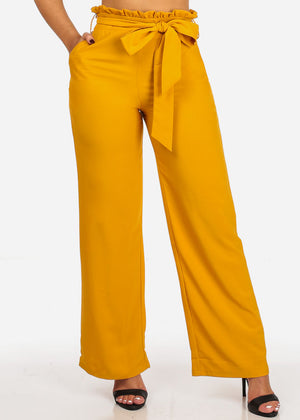 Mustard Belted High Rise Wide Legged Pants