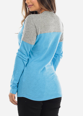 Blue & Grey Colorblock Long Sleeve Shirt