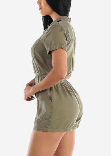 Cuffed Sleeves Olive Romper