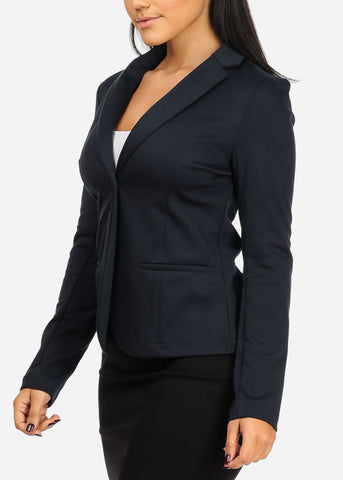 Image of Classic One Button Navy Blazer