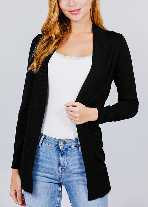 Black Ribbed Banded Open Sweater Cardigan