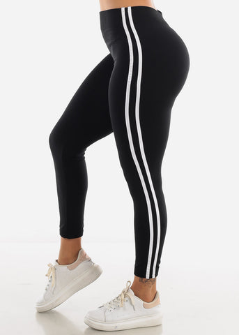 Image of 2 Stripe Black Wide Waist Leggings