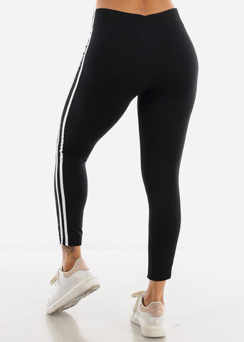 2 Stripe Black Wide Waist Leggings