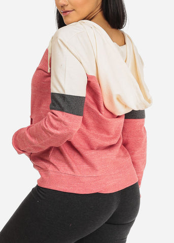 Cute Coral 2 Tone Sweater