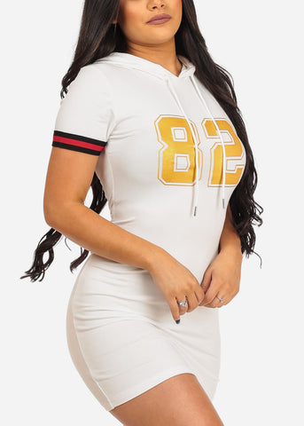 Image of Women's Junior Ladies Casual Bodycon Tight Fitted Graphic Print Stripe Sleeve Game Day Baseball T Shirt Graphic Printed Number Print White Dress
