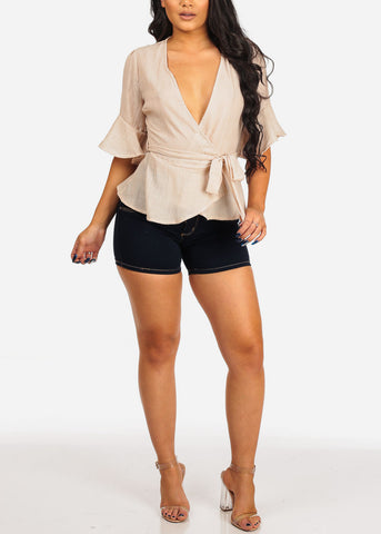 Women's Junior Ladies Casual Short Sleeve Wrap Front Tie Belt Included Lightweight Short Sleeve Beach Vacation Taupe Top