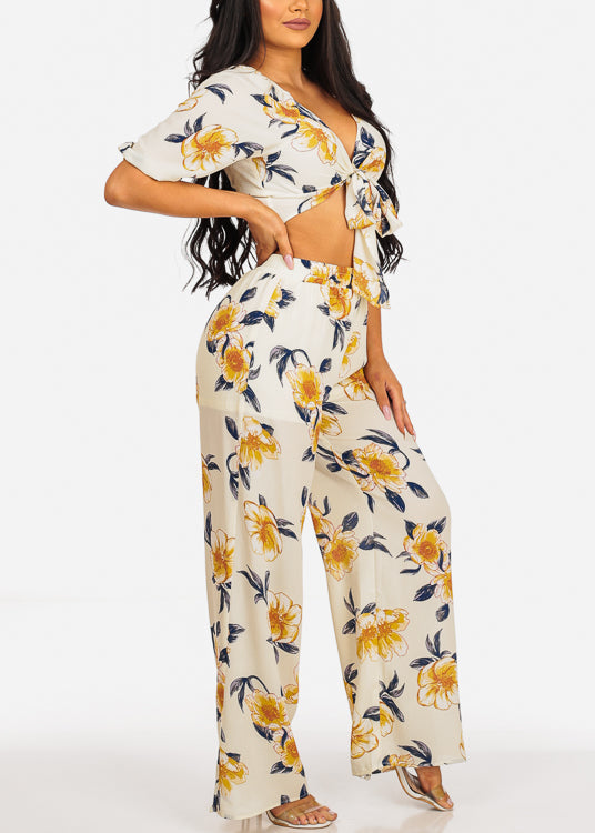 Off White Floral Print Crop Top & Pants (2PCE SET)