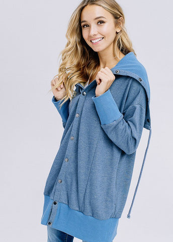 Sailor Button Blue Oversized Jacket