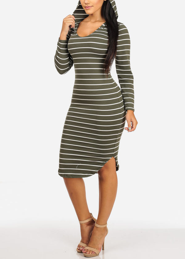 Casual Olive Stripe Bodycon Dress