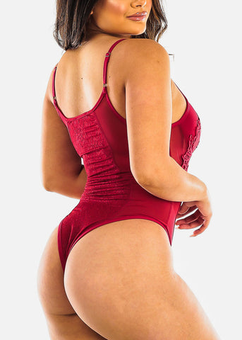 Image of Sexy Red Floral Lace Bodysuit