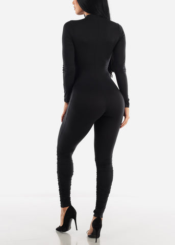 Image of Long Sleeve Black Jumpsuit