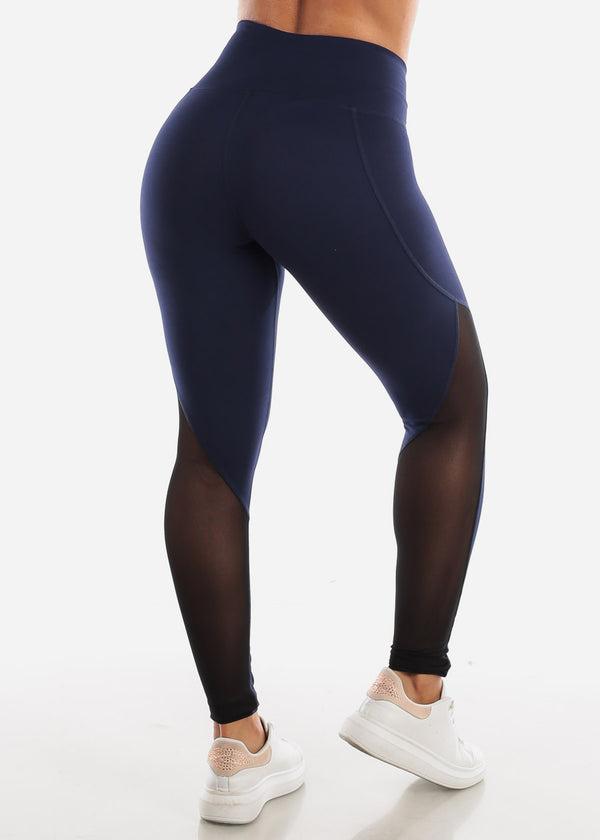 Activewear Mesh Detail Navy Leggings