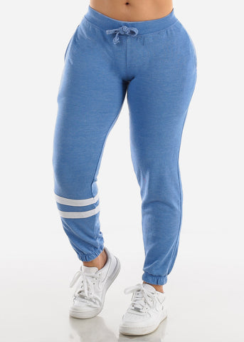 Mid Rise Blue Fleece Jogger Sweatpants