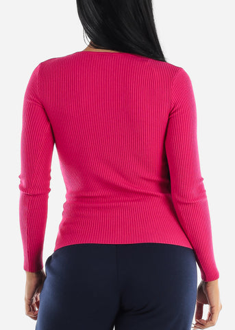 V-Neck Viscose Rib Hot Pink Sweater