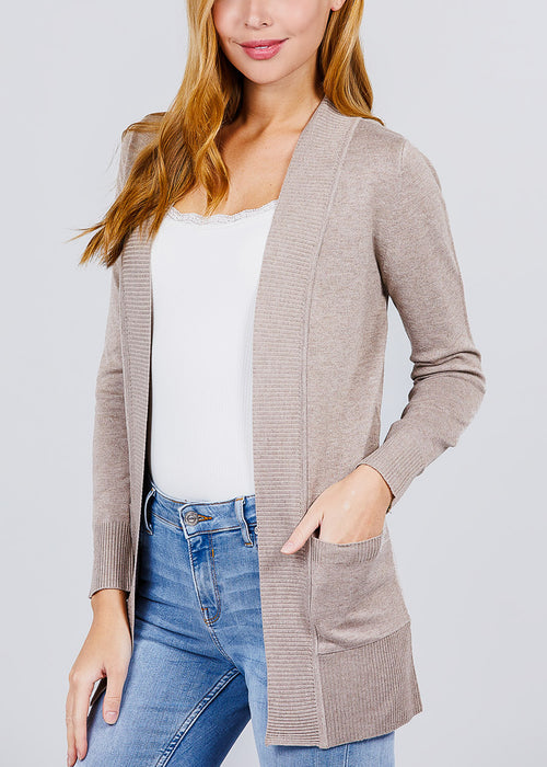 Khaki Ribbed Banded Open Sweater Cardigan