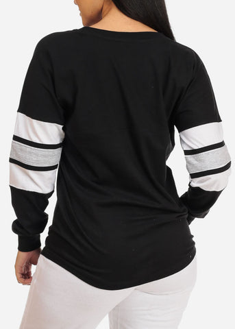 Casual Long Sleeve Black Sweatshirt