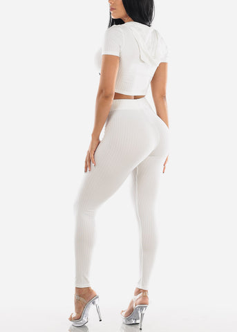 Ribbed White Crop Top & Pants (2 PCE SET)
