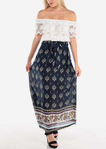 Lightweight Navy Print Maxi Skirt