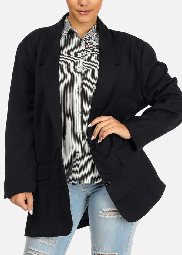 L'ATISTE 2 Button Oversized Navy BLazer