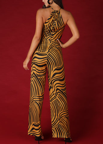Image of Gold Abstract Stripe Halter Jumpsuit