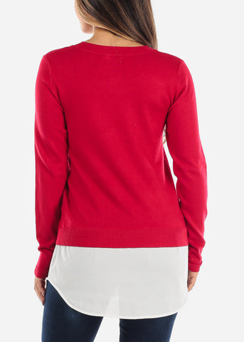 Combined Red Sweater Button Down Top SW1350RED