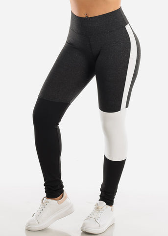 Image of Activewear Colorblock Charcoal Leggings