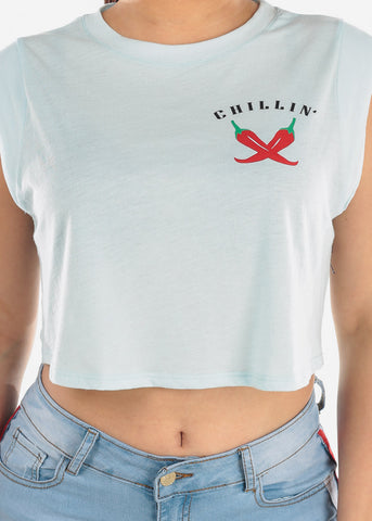 "Image of Light Blue Crop Top ""Chillin"""