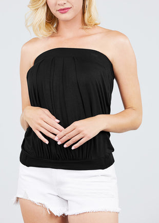 Strapless Pleated Black Top