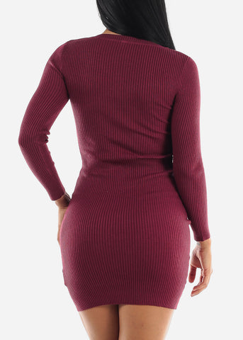 Image of Ribbed Burgundy Bodycon Sweater Dress