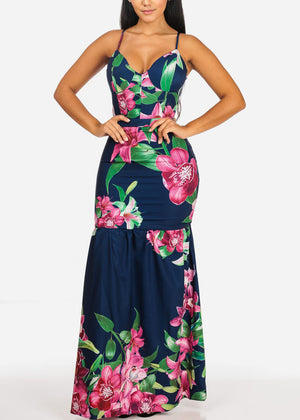 Sexy Stylish Floral Mermaid Maxi Dress