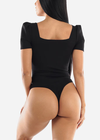 Puff Sleeve Black Bodysuit