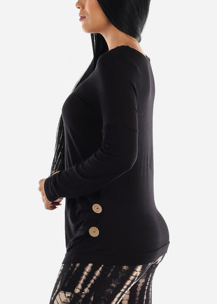 Button Detailed Black Tunic Top