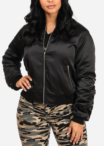 Image of Trendy Zip Up Black Bomber Jacket