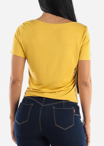 Image of Yellow Tie Front Top