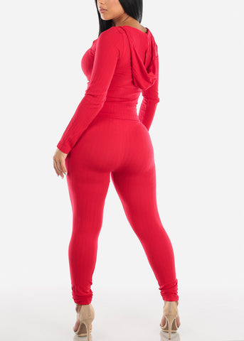 Image of Ribbed Red Top & Leggings (2 PCE SET)
