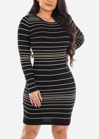 Image of Gold Stripe Black Sweater Dress