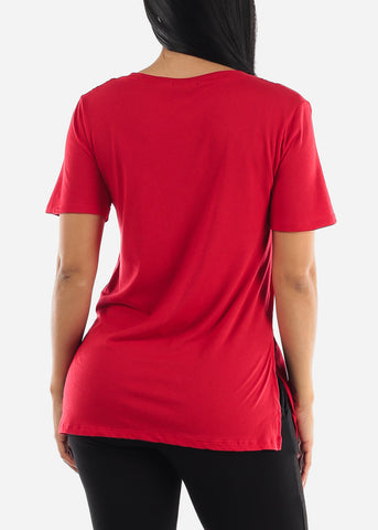 Side Slits Red Top
