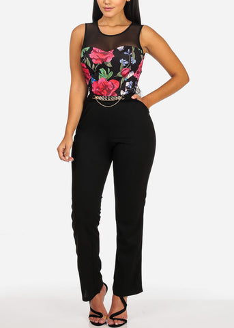 Image of Sexy Mesh Floral Print Black Jumpsuit