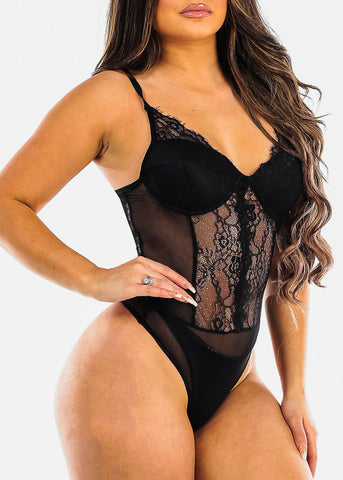 Image of Sexy Black Sheer Lace Bodysuit
