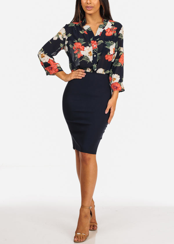Navy Floral Red Print Blouse