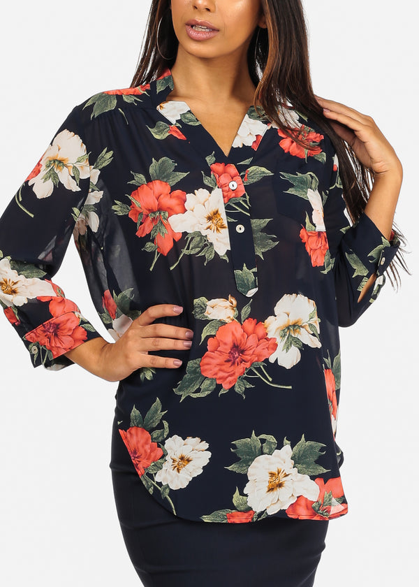 3/4 Sleeve Red Floral Print Navy Chiffon Blouse