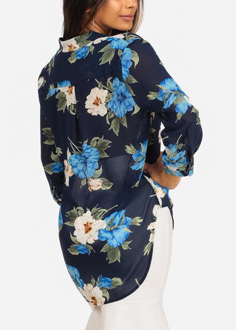 3/4 Sleeve Navy Floral Print Chiffon Blouse