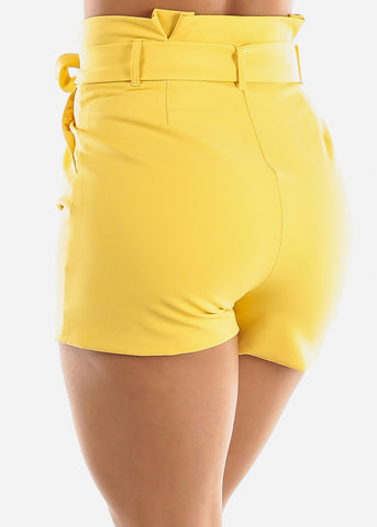 Yellow Belted Shorts