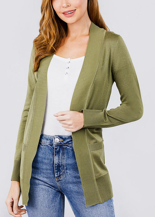 Olive Ribbed Banded Open Sweater Cardigan