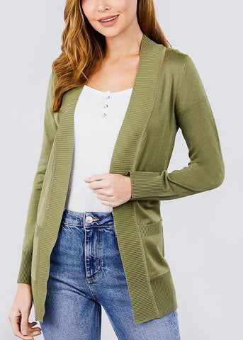 Image of Olive Ribbed Banded Open Sweater Cardigan