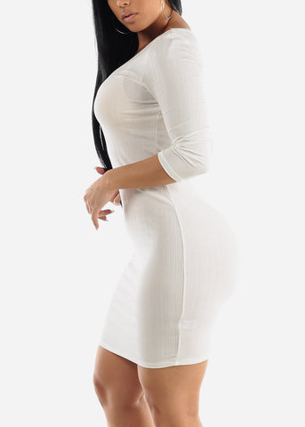 White Bodycon Ribbed Sweater Dress