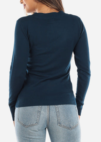 Solid Teal V-Neck Sweater SW200NVY